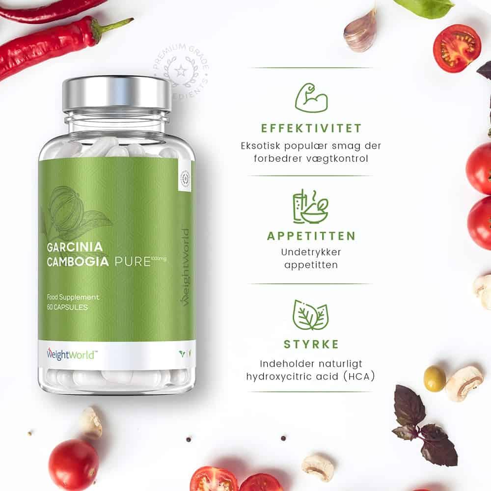 Garcinia Cambogia Pure er en slankepille der øger effektivitet og styrke, og nedsætter appetitten.