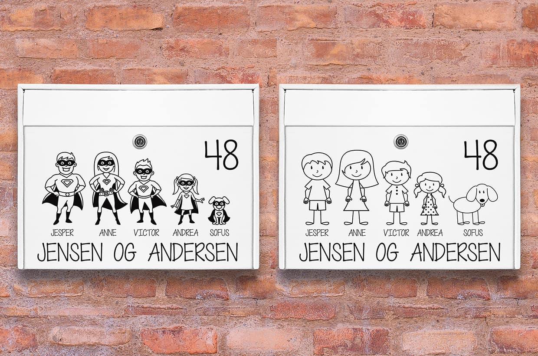 Postkasse stickers med sjove figurer